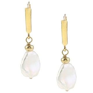 DaVonna 14k Gold over Silver White FW Keshi Pearl Earrings (9-11 mm)
