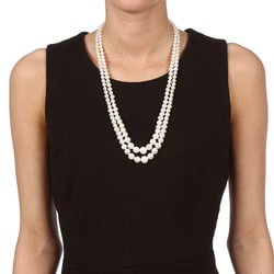 DaVonna Silver White FW Pearl 2-row Graduated Necklace (6-11 mm) - Thumbnail 2