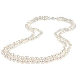 DaVonna Silver White FW Pearl 2-row Graduated Necklace (6-11 mm) - Thumbnail 0