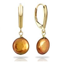 DaVonna Gold over Silver 9-11mm Brown Freshwater Coin Pearl Earrings