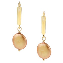 DaVonna Gold over Silver 9-11mm Golden Freshwater Coin Pearl Earrings