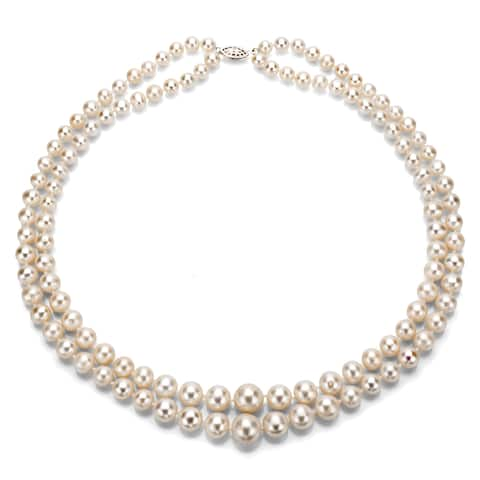 """DaVonna Silver White Freshwater Pearl 2-row Graduated Necklace with Gift Box (16""""-36"""")"""