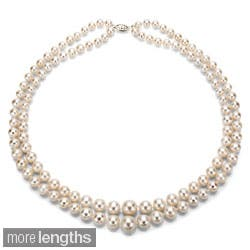 "DaVonna Silver White Freshwater Pearl 2-row Graduated Necklace with Gift Box (16""-36"")