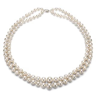 "DaVonna Silver White Freshwater Pearl 2-row Graduated Necklace with Gift Box (16""-36"")"