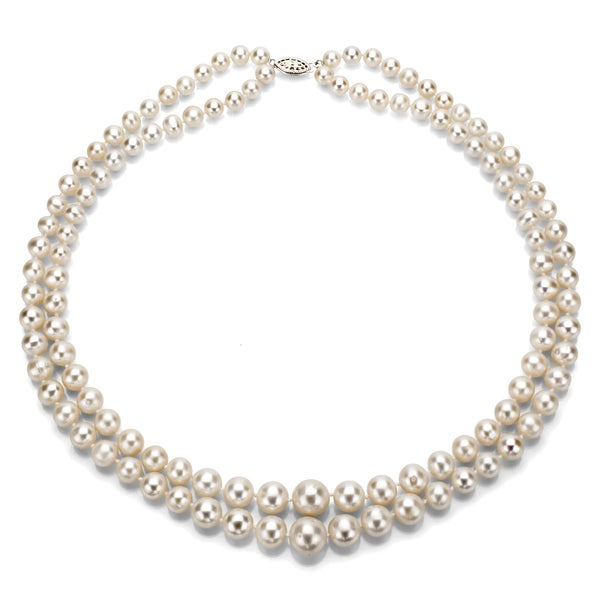 Shop DaVonna Silver White Freshwater Pearl 2-row Graduated ...