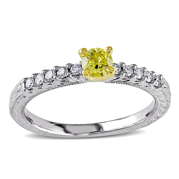 Miadora 14k Two-tone Gold 1/2ct TDW Yellow and White Diamond Ring