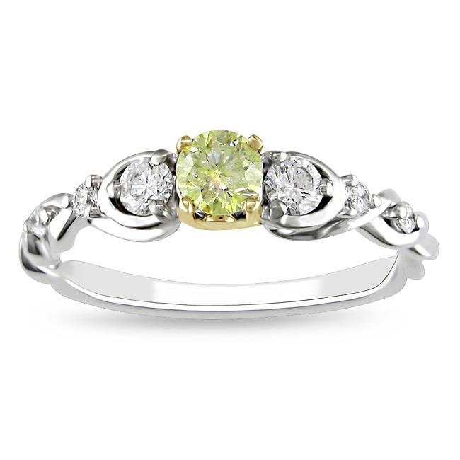 Miadora 14k Gold 1/2ct TDW Round Cut Yellow and White Diamond Ring