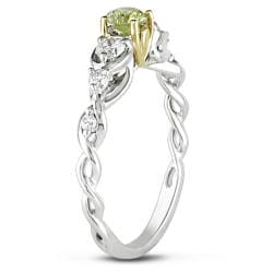 Miadora 14k Gold 1/2ct TDW Round Cut Yellow and White Diamond Ring - Thumbnail 1