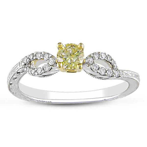 Miadora 14k Two-tone Gold 1/3ct TDW Yellow and White Diamond Ring