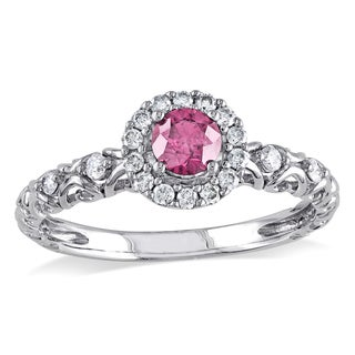 Miadora 14k White Gold 1/2ct TDW Pink and White Diamond Halo Ring