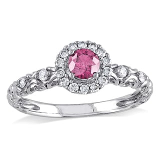 Miadora 14k White Gold 1/2ct TDW Pink and White Diamond Halo Ring