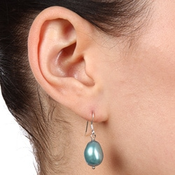 DaVonna Silver Teal Baroque FW Pearl Drop Earrings (9-10 mm)