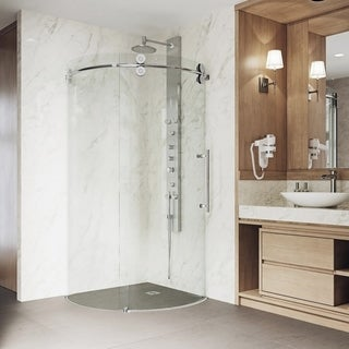"VIGO 36 x 36 Frameless Round 5/16"" Clear Shower Enclosure Right-Sided Door"
