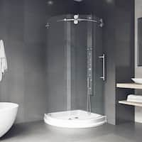 """VIGO 36 x 36 Frameless Round 5/16"""" Clear Shower Enclosure Right-Sided Door with Base"""