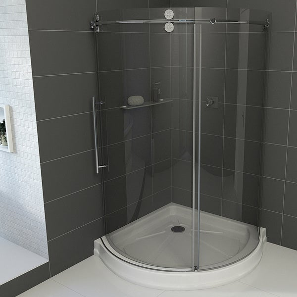 "VIGO 36 x 36 Frameless Round 5/16"" Clear Shower Enclosure Left-Sided Door with Base"