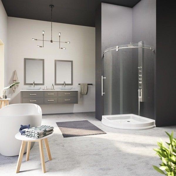 "VIGO 36 x 36 Frameless Round 5/16"" Clear Shower Enclosure Left-Sided Door with Base"