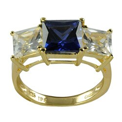 Gems for You 14k Yellow Gold over Silver Blue and White Sapphire Ring