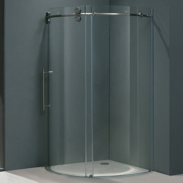 "VIGO 40 x 40 Frameless Round 5/16"" Clear Shower Enclosure Left-Sided Door"