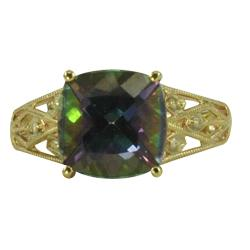 Gems for You 10k Yellow Gold Mystic Topaz and Diamond Accent Ring