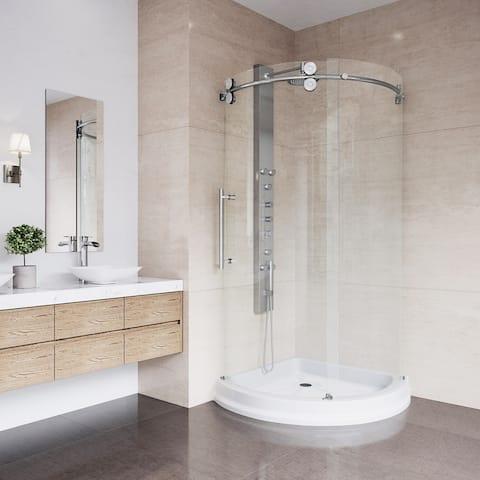 VIGO Sanibel Frameless Round Sliding Door Shower Enclosure with Base