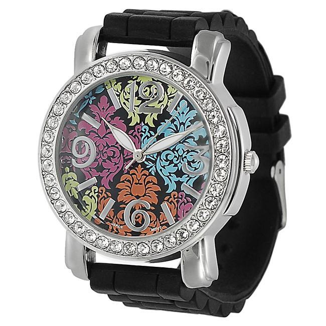 Geneva Platinum Women's Rhinestone Black Silicone Watch