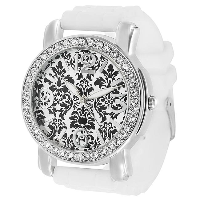 Geneva Platinum Women's Black Floral Dial Rhinestone Silicone Watch