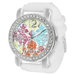 Geneva Platinum Women's Multicolor Floral Dial Rhinestone Silicone Watch