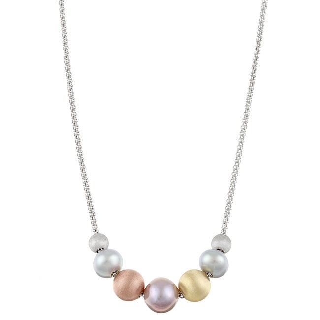 Kabella Sterling Silver Freshwater Pearl and Tri-color Bead Necklace (7-9 mm)