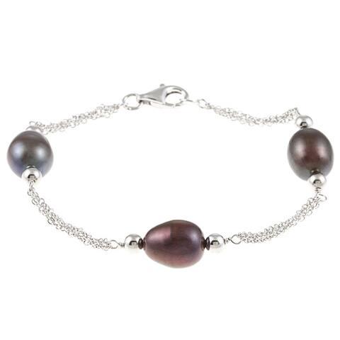 Kabella Sterling Silver Black Freshwater Rice Pearl Chain Bracelet (9-10 mm)