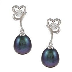 Kabella Silver Black Freshwater Pearl and Cubic Zirconia Daisy Earrings (8-9 mm)
