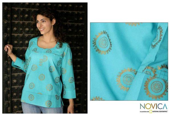 Women's Cotton 'Turquoise Sun' Blouse (India)