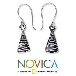 Handmade Sterling Silver 'Textures' Dangle Earrings (Mexico) - Thumbnail 1