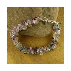Sterling Silver 'Subtle Allure' Fluorite Beaded Bracelet (India)
