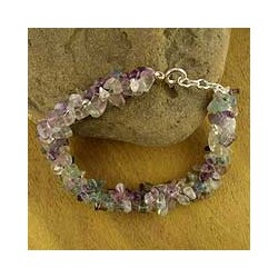 Handmade Sterling Silver 'Subtle Allure' Fluorite Beaded Bracelet (India)