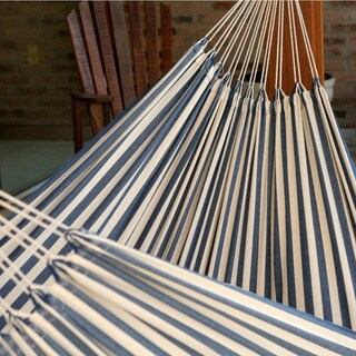 Maritime Outdoor Garden and Patio 100% Cotton Eco Friendly Hand Loomed Durable Blue and White Striped Single Hammock (Brazil)