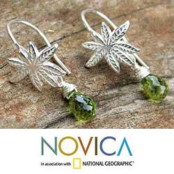 Handmade Sterling Silver 'Silver Fern' Peridot Dangle Earrings (Thailand)