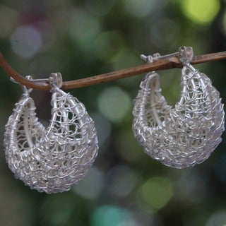 Roots of Life Unique Wire Crocheted Day or Evening 925 Sterling Silver Saddleback Closure Womens Hoop Earrings (Indonesia)
