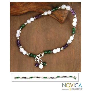 Handmade Sterling Silver 'Adoration' Amethyst and Moonstone Anklet (India)