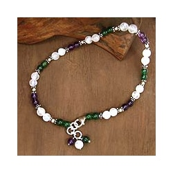 Sterling Silver 'Adoration' Amethyst and Moonstone Anklet (India)