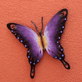 Soul of Wisdom Indoor Outdoor Patio Garden Purple Black Gold Rustic Handcrafted Decor Accent Butterfly Metal Wall Art (Mexico)