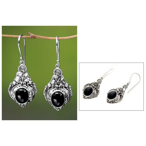 Handmade Sterling Silver 'Midnight Garden' Onyx Flower Earrings (Indonesia)