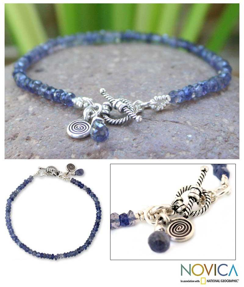 Creative Twilight Blue Iolite Gemstones with Spiral Charm and Toggle Catch 925 Sterling Silver Womens Beaded Bracelet (Thailand)