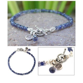 Handmade Creative Twilight Blue Iolite Gemstones w Spiral Charm and Toggle Catch 925 Sterling Silver Beaded Bracelet (Thailand)