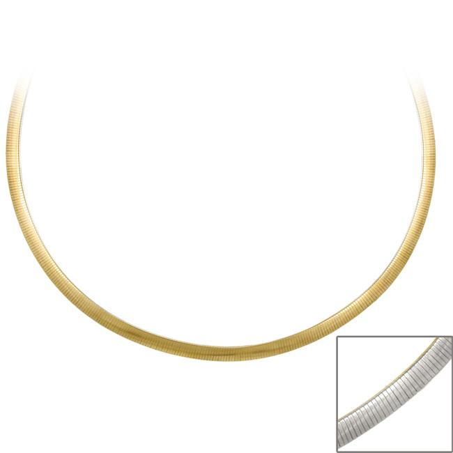Mondevio Two-tone Silver 18-inch Italian Reversible Omega Necklace
