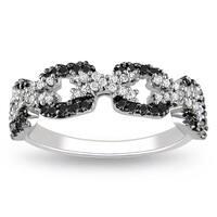 Miadora Sterling Silver 3/8ct TDW Black and White Diamond Ring
