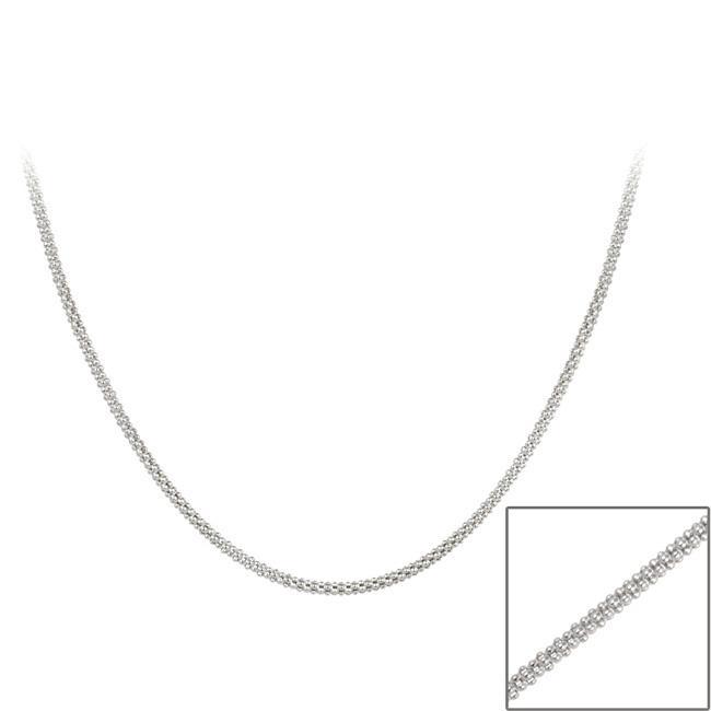 Mondevio Sterling Silver 36-inch Italian Popcorn Chain Necklace