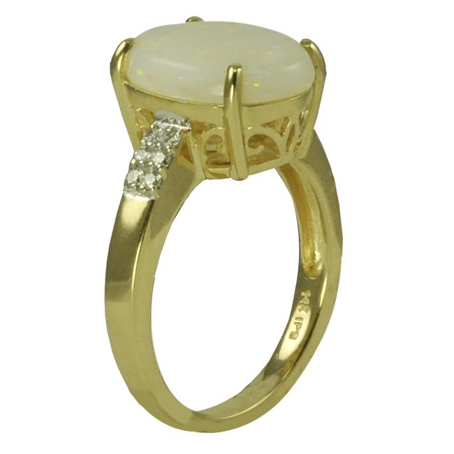 Gems for You 10k Yellow Gold Opal and 1/8ct TDW Diamond Accent Ring (H-I, I-2)