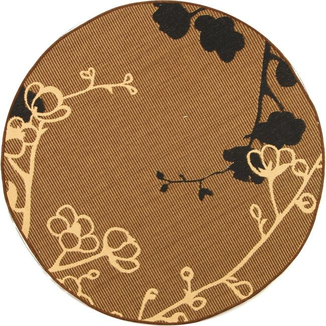 "Safavieh Courtyard Brown/ Black Indoor/ Outdoor Rug - 6'7"" x 6'7"" round"