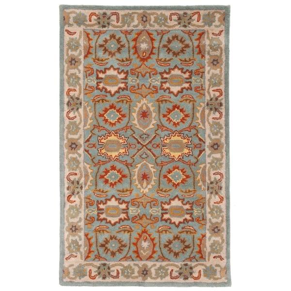 Safavieh Handmade Heritage Timeless Traditional Light Blue/ Ivory Wool Rug - 3' x 5'