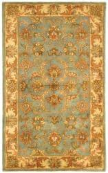 Safavieh Handmade Heritage Timeless Traditional Blue/ Beige Wool Runner (2'3 x 4')